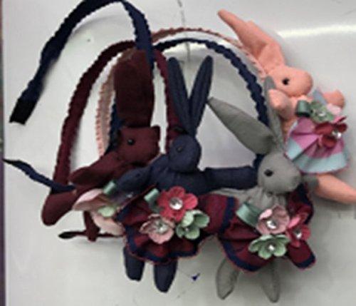 Kinder Stirnbänder - 4 Pack Mode Häschen Haarbänder, in 4 verschiedenen Farben Haarschmuck mit Blumen und Schmuck für kleine Mädchen und Erwachsene
