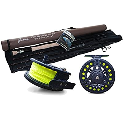 Flextec Carbon Fibre Fly Fishing Rod kit with Fly Reel Floating Line - All Sizes by Flextec