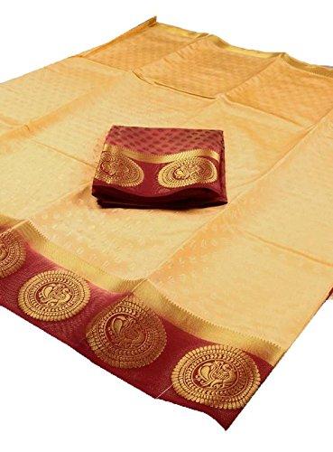 Fashionesta Women's Multi Color Traditional Fancy Party wear Cotton Silk Saree(Color: Beige)