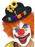 Smiffys Déguisement Homme, Chapeau de clown, Noir, avec bande multicolore et fleurs, 24088