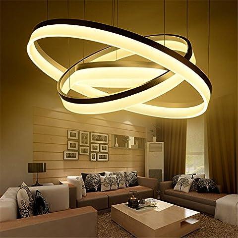 CAC LED moderno salón comedor colgante luminaria de suspensión suspendu luces LED lámpara de iluminación del anillo de fijación a techo colgante,3 el anillo D60 40 20cm,blanco cálido.