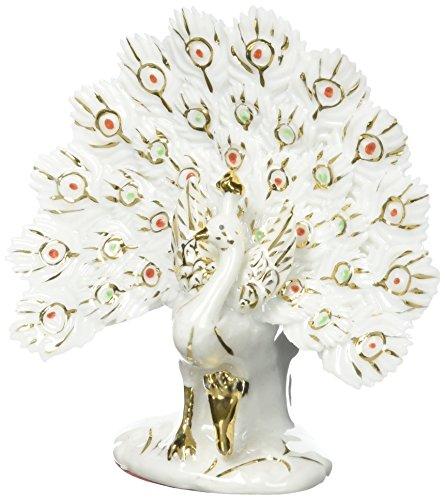 Feng Shui peacock- Hand verarbeitet und verziert feinem chinesischem Porzellan, Figur D & # X43E; 3532 weiß - Chinesische Porzellan Figuren