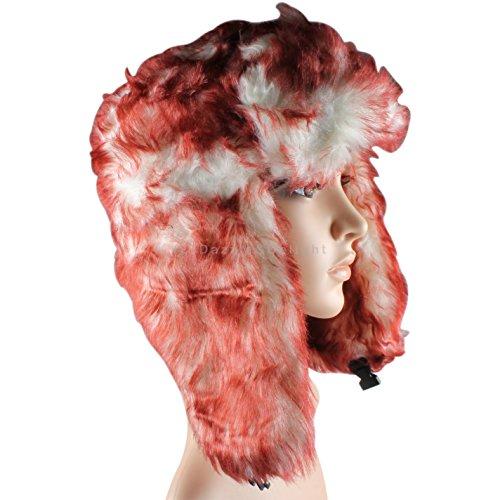 Dark Red Fur Trapper Hat Russian Cossack Ski Hat Warm Winter Thermal Hat