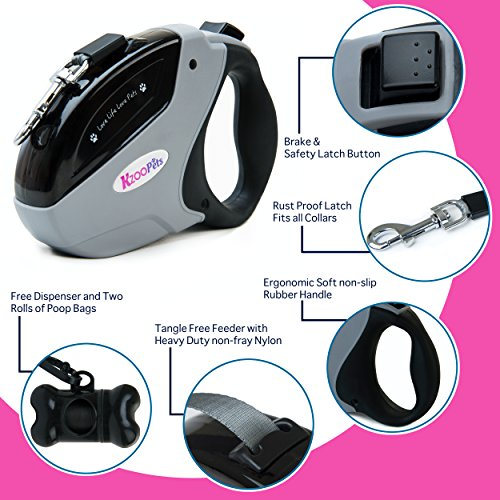 Retractable-Dog-Lead-KzooPets-5m-Extendable-Pet-Leash-Dog-Leads-for-Small-Medium-Large-Dogs-up-to-50kgs-Tangle-Free-One-Button-Brake-Lock-PLUS-Poop-Bag-Dispenser-2-refills-included