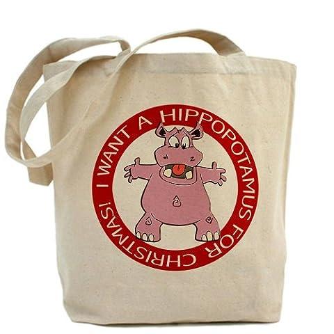 CafePress–Hippo für Weihnachten–Leinwand Natur Tasche, Reinigungstuch Einkaufstasche