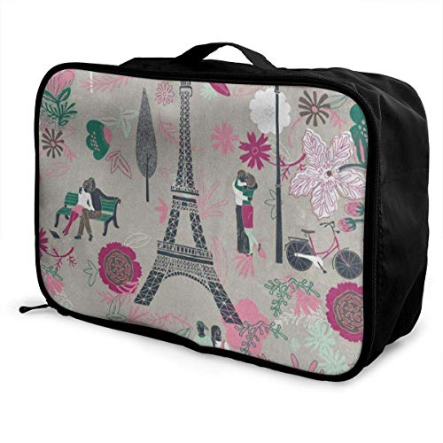 Gepäckträgertaschen,Gepäck Reisetasche,Travel Storage Luggage Trolley Bag Paris Eiffel Tower Lover Bags Carry-on In Trolley Handle Custom (Eiffel Tower-bild-halter)