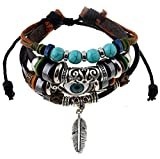 Scrox cuoio Turco Blu Evil Eye braccialetto Luck protezione, donne gefloc htene Cordone Catena Regolabile, colore: stile 1, cod. YXN3134015K3W59334