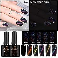 Set de esmaltes de uñas magnéticos luminosos Saviland que brilla en la oscuridad ojo de gato esmalte de uñas UV/LED Manicura Kit de arte de uñas + gel de color negro + barra de imán gratis