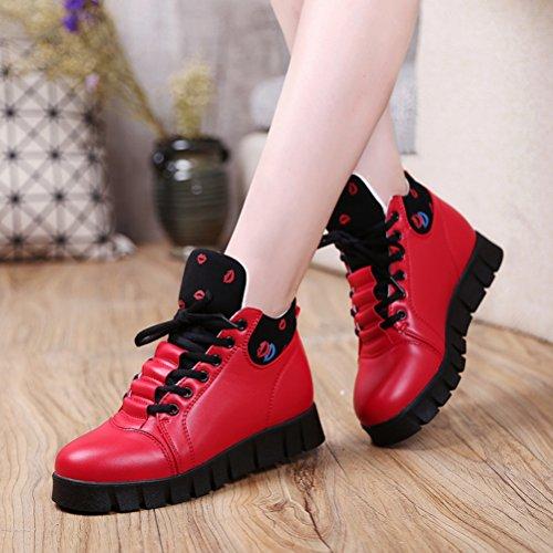 Moderne Kurzschaft Damen Lippenstift Schnürsenkel Gummi Sohle Anti-rutsch Bequeme Lässige Tägliche Flache Sneakers Rot
