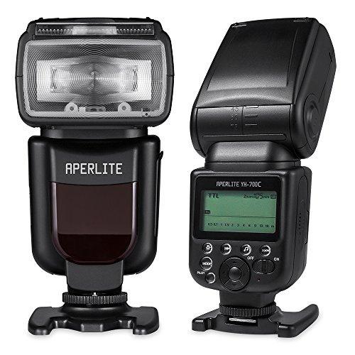 aperlite Flash für Canon | Profi DSLR Speedlite Blitz für Canon Digital SLR Kamera | unterstützt High-Speed Sync, TTL Modi & Wireless Master Kontrolle | yh-700C