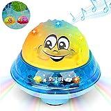 MOGOI Spray Wasser Badespielzeug, elektronische Wasserball Badespielzeug mit Licht für Kleinkinder Jungen Mädchen Pool Badewanne (Yellow+Base)