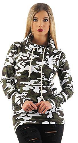 Mr.Shine Damen Kapuzenpullover Schräg Kragen Camouflage Pullovershirt Langarmshirt In Den Größen S, M, L, XL, XXL (S, Weiß) (Strick-stoff Den Italienischen Weißen,)