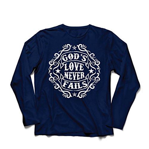 Langarm Herren t Shirts Jesus liebt Dich - Gottes Liebe scheitert nie - Christliches Geschenk - Ostern - Auferstehung - Geburt Christi, religiöse Kleidung (X-Large Blau Mehrfarben)