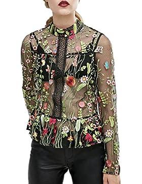 ACHICGIRL Mujer Elegante Camisa Bordada Floral Mangas Largas