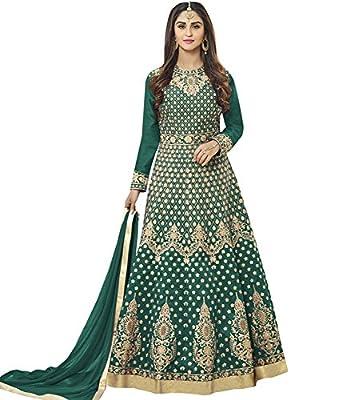 Lajree Designer Women's Silk New Arrival Fancy Salwar suit for Wedding Wear Punjabi Salwar Kameez Floor Length semi stitched Green color(LN-12100)