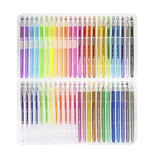 Foto de Original Stationery - Juego de bolígrafos de gel para adultos–Punta fina sin derrames–Metálico, purpurina, fluorescente, tiza líquida–48colores