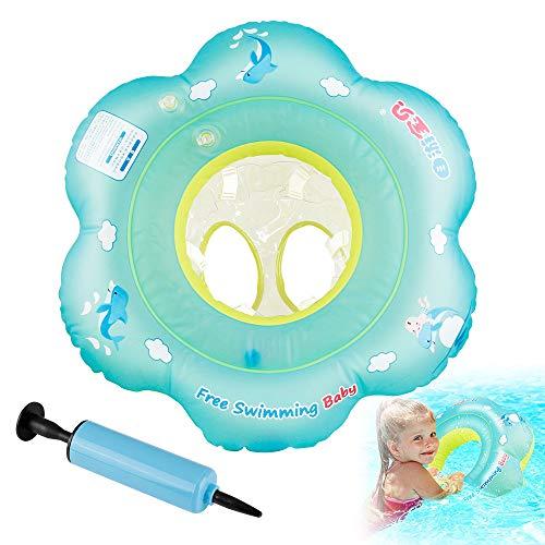 Orlegol Baby Schwimmring, Baby Schwimmen Ring Baby Schwimmhilfe mit Schwimmsitz, Kleinkind Baby Schwimmt Aufblasbarer Kinder Schwimmreifen Schwimmring für Baby von 18 Monaten bis 3 Jahren mit Pumpe-L