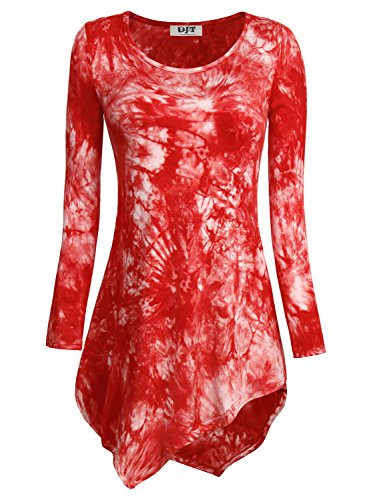 DJT Femme T-shirt Tops Blouse Manches longues Col rond Pull-over hauts Rouge
