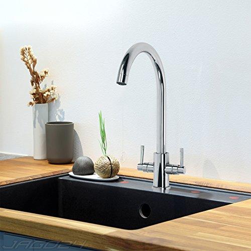 Preisvergleich Produktbild Aquamarin Wasserhahn Spuele (Modelwahl) Verchromte Küchenarmatur mit Zweihebelmischer
