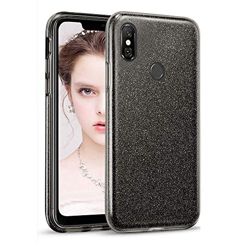 "Coovertify Funda Purpurina Brillante Negra Xiaomi Redmi Note 6 Pro, Carcasa Resistente de Gel Silicona con Brillo Negro para Xiaomi Note 6 Pro (6,26"")"