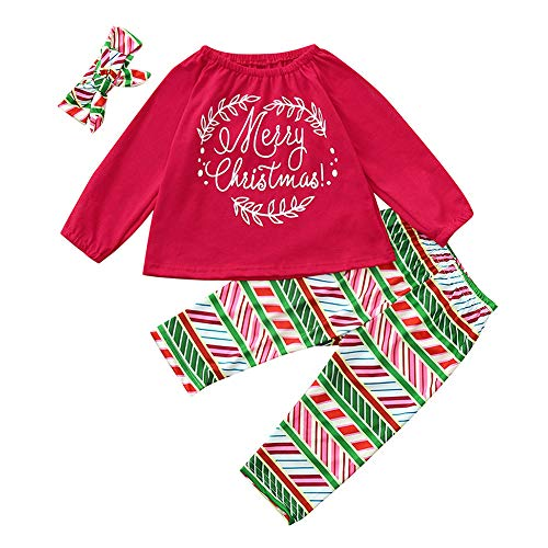 Cuteelf Baby Langarm Weihnachten Brief Print Top T-Shirt + Geometric Print Pants + Haarband dreiteilige Set Baby Baby Mädchen Frohe Weihnachten Top T-Shirt Hosen Set