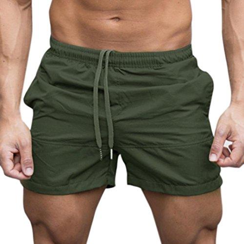 Uomo pantaloncini,yumm sport e fitness pantaloncini estivi jogging casual costumi/uomo da boxer tie anteriori pantaloni regolabile costumi da bagno traspirante calzoncini da surfe (army green, l)
