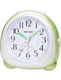 Rhythm Added Beep Alarm Clock Metallic Green 8.7x8.7x5.3 Cm