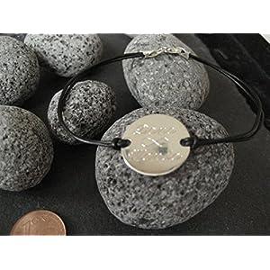 Lederarmband mit 1,8 cm Gravurplatte in 925er Silber, Namensarmband mit Unendlich Gravur (GA-16)