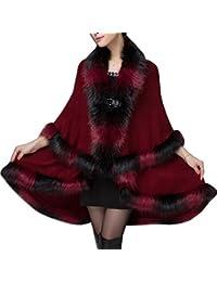 KAXIDY Elegante Mujer Abrigo de piel de Imitación Ropa de abrigo Chaquetas Capa del Mantón