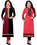 #7: Combo Cotton Kurti For Women Party Wear Cotton Semi-stiched Printed Pink & Black color Straight Kurti For Women In Low Price (Combo Pack Of 2 Kurti)