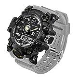 Taffstyle Herren Sportuhr Armbanduhr Silikon Sport Watch mit Licht Alarm Stoppfunktion Chronograph Digital Quarz Flieger Uhr Grau