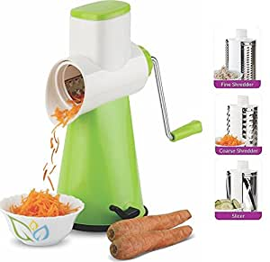 cartup Plastic Rotary Grater Shredder for Vegetables, Fruits, Chocolates, Dry-Fruits, Pasta with 4 Stainless Steel Blades