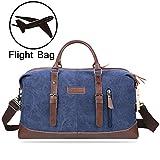 PRASACCO Vintage Segeltuch Canvas PU Leder Reisetasche Handgepäck Sporttasche Unisex Arbeitstasche Travel Bag Holdall