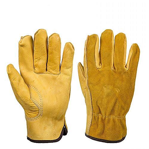 JZK Resistenti guanti da giardinaggio anti spine pelle uomo XL guanti da lavoro pelle gialli guanti giardinaggio antispine extra grande