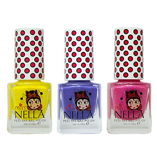 Miss Nella Sun Kissed, Sweet Lavendel, Tickle Me Pink spezielle Glitzer Kinder Nagellack mit Peel Off auf Wasserbasis Formel -