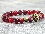 Pulsera de cabeza de león de ágata natural de rayas rojas con cuentas de oro