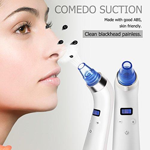 Limpiador Puntos Negros iTrunk Aspirador Facial para Poros comedones extractor con 4 Sondas Multifuncionales Limpiador de Poros Recargable con Pantalla LED para la Limpieza de la Piel Facial (Blanco)