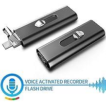 Grabadora digital activada por voz   Espía Artilugio de Grabación Audio   Unidad Flash de 8 GB con micrófono incorporado   Batería real de 17 horas   Registre y cargue simultáneamente   148 horas de capacidad de grabación