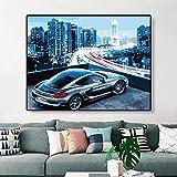 Peinture de Bricolage de Ville de Voiture de Sport par des nombres de Kits Colorant la Peinture par Cadeau Moderne d'image d'art de Mur de nombres, 60X75cm