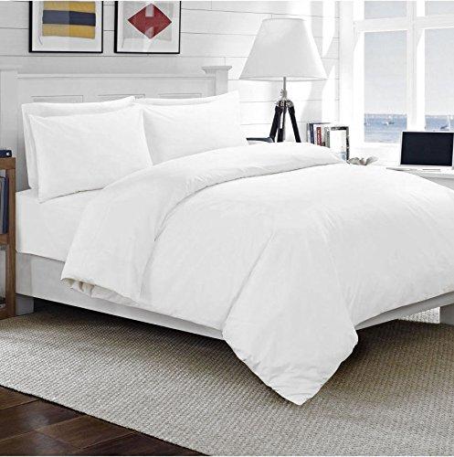 Luxus-Hotel-Qualität, TC300,100% gekämmte, ägyptische Baumwolle - Satin-Bettbezug-Set,  Bettwäsche-Set mit Kissenbezug und Bettdeckenbezug für Doppelbett (King-Size und Super-King-Size), weiß, Doppelbett