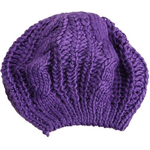 WANGSOAR Fashion Women's Lady Beret Braided Baggy Beanie Crochet Warm Winter Hat Ski Cap Wool Knitted Purple -
