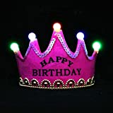 #6: Skky bell Happy Birthday Crown hat (Dark PINK Princes) with LED light .best for birthday gift