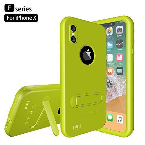 Custodia Protettiva Impermeabile Apple iPhone X, Voguecase Funda Impermeabile Cover / Case / Custodia PC + TPU Duro Rigida Ibrido con Hand Strap & Headphone Adapter (Nero) Con Stilo Penna Frutta verde