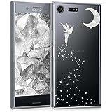 kwmobile Hülle für Sony Xperia XZ Premium - TPU Silikon Backcover Case Handy Schutzhülle - Cover klar Fee Glitzer Design Silber Transparent