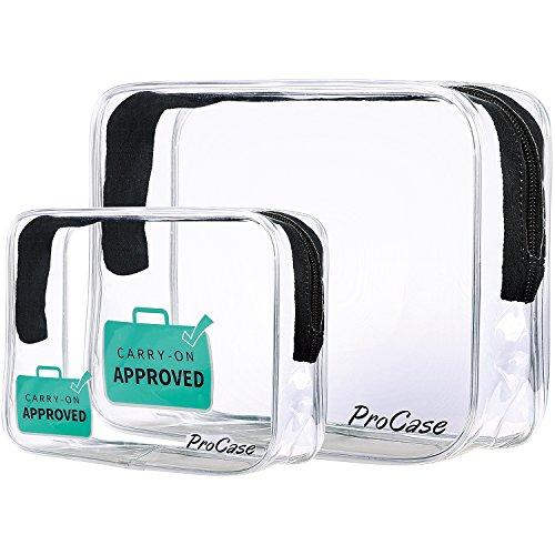 ProCase Clear Carry-On Reise-Kulturbeutel, TSA genehmigt Flughafen Airline kompatibel Quart Bag Zipper Tasche für Kosmetik, Container, Männer und Frauen 3-1-1 Kit (Set von 2, Groß + Klein) (Checkpoint Taschen Freundliche)