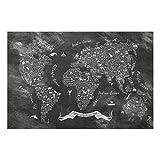 Bilderwelten Spritzschutz Glas - Kreide Typografie Weltkarte - Quer 2:3, Größe HxB: 59cm x 90cm
