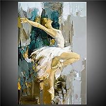 """Pintada a mano Personas Vertical,Modern Un Panel Lienzos Pintura al óleo pintada a colgar For Decoración hogareña , 24"""" x 36"""""""