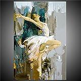 Pintada a mano Personas Vertical,Modern Un Panel Lienzos Pintura al óleo pintada a colgar For Decoración hogareña , 24' x 36'