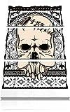 Native skull white 3-Teiler Leinwandbild 120x80 Bild auf Leinwand, XXL riesige Bilder fertig gerahmt mit Keilrahmen, Kunstdruck auf Wandbild mit Rahmen, gänstiger als Gemälde oder Ölbild, kein Poster oder Plakat