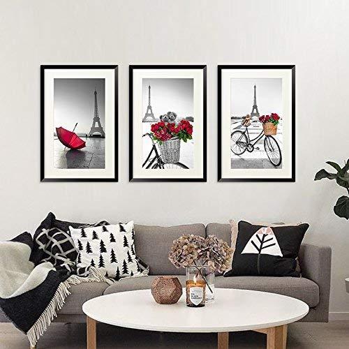 MJK Dekorative Gemälde,Moderne Triple Side schwarz Frame Sofa Hintergrund Wanddekoration Malerei,50 * 70CM organisches Glas + Schlichter schwarzer Umkarton,Tr-038a